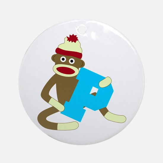 Sock Monkey Monogram Boy P Ornament (Round)