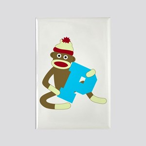 Sock Monkey Monogram Boy P Rectangle Magnet