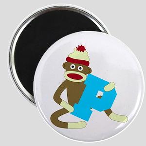 Sock Monkey Monogram Boy P Magnet