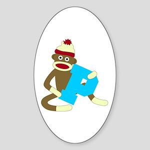 Sock Monkey Monogram Boy P Sticker (Oval)