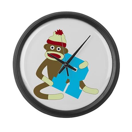 Sock Monkey Monogram Boy R Large Wall Clock