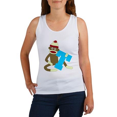 Sock Monkey Monogram Boy T Women's Tank Top