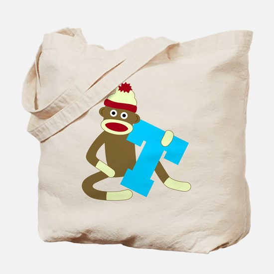 Sock Monkey Monogram Boy T Tote Bag