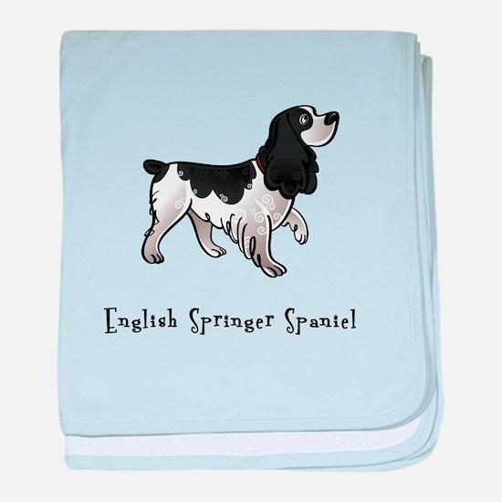 English Springer Spaniel Illu baby blanket