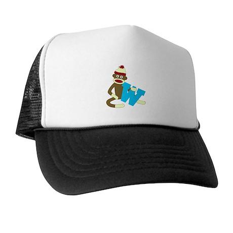 Sock Monkey Monogram Boy W Trucker Hat
