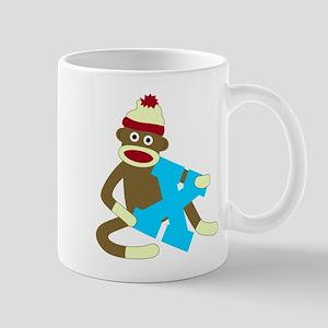 Sock Monkey Monogram Boy X Coffee Mug