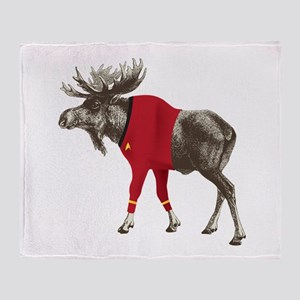 Moose Red Shirt Throw Blanket