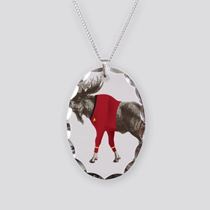 Moose Red Shirt Necklace Oval Charm