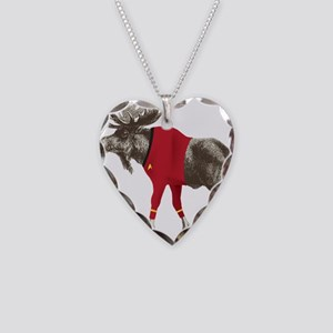 Moose Red Shirt Necklace Heart Charm