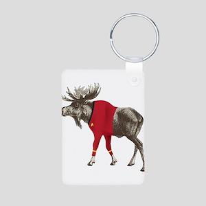 Moose Red Shirt Aluminum Photo Keychain