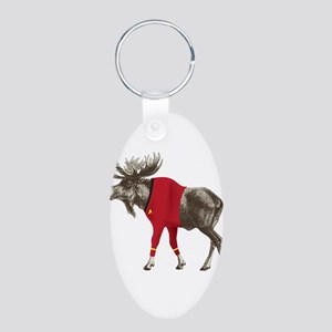 Moose Red Shirt Aluminum Oval Keychain