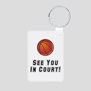 Basketball Court Aluminum Photo Keychain