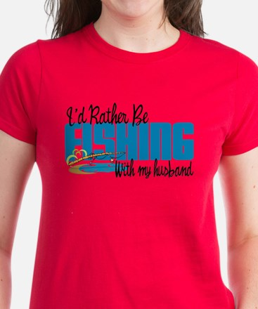 Rather Be Fishing With My Husband Women's Dark T-S