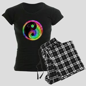 Rainbow Spiral Yin Yang Women's Dark Pajamas