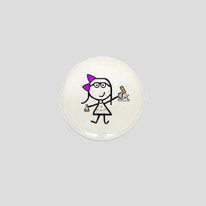Girl & Microscope Mini Button