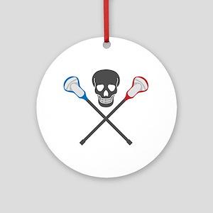 Skull and Lacrosse Sticks Ornament (Round)