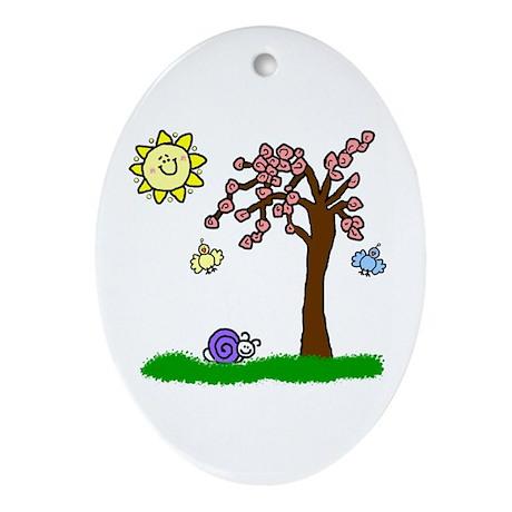 Cherry Tree Ornament (Oval)
