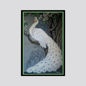 White Peacock Rectangle Magnet
