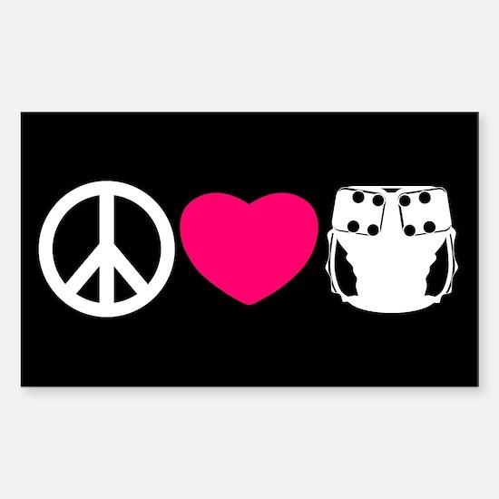 Peace, Love, Cloth Sticker (Rectangle)