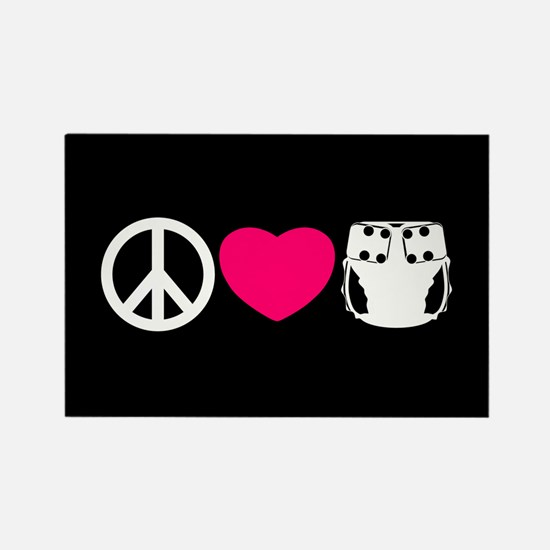 Peace, Love, Cloth Rectangle Magnet