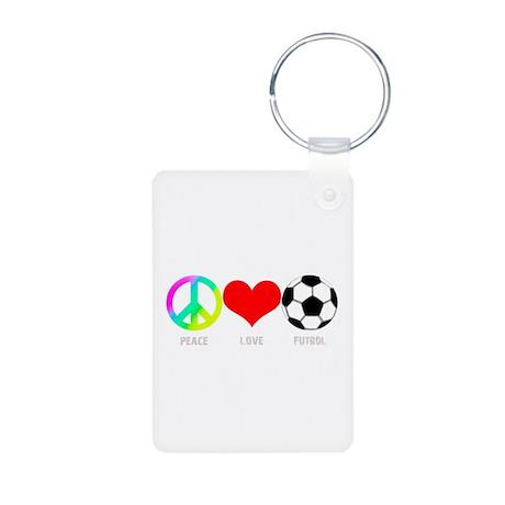 Peace Love Futbol Aluminum Photo Keychain