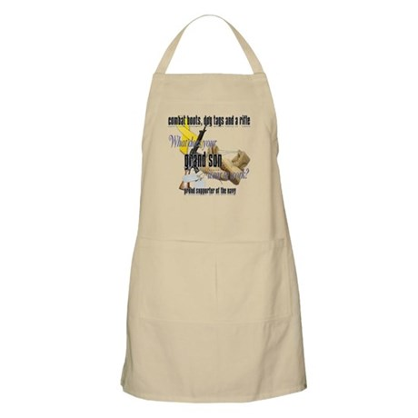 Navy What Does Your Grandson Wear Apron