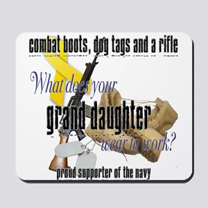 Navy What Does Your Grand Daughter Wear Mousepad