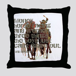 Will Rogers Horse Racing Quot Throw Pillow
