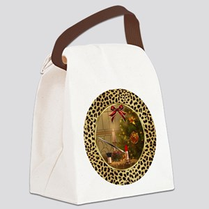 Makeup Christmas Tree Cheetah Canvas Lunch Bag