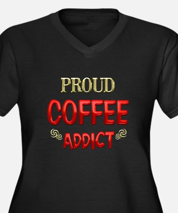 Coffee Addict Women's Plus Size V-Neck Dark T-Shir