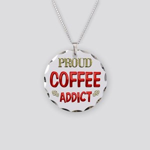 Coffee Addict Necklace Circle Charm