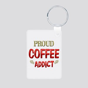 Coffee Addict Aluminum Photo Keychain