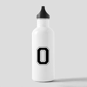 Varsity Font Number 0 Black Stainless Water Bottle