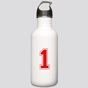 Varsity Font Number 1 Red Stainless Water Bottle 1