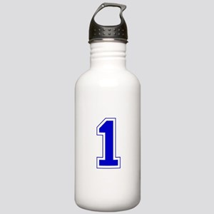 Varsity Font Number 1 Blue Stainless Water Bottle