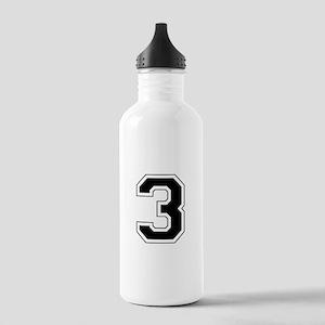 Varsity Font Number 3 Black Stainless Water Bottle