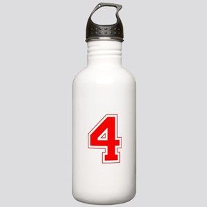 Varsity Font Number 4 Red Stainless Water Bottle 1