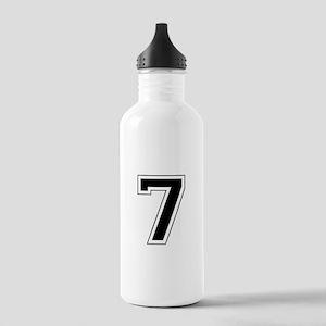 Varsity Font Number 7 Black Stainless Water Bottle