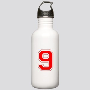 Varsity Font Number 9 Red Stainless Water Bottle 1