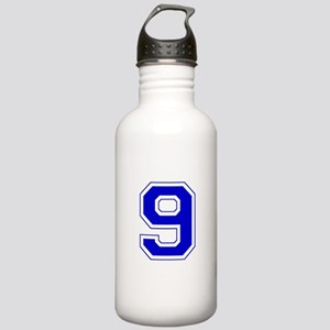 Varsity Font Number 9 Blue Stainless Water Bottle