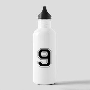 Varsity Font Number 9 Black Stainless Water Bottle
