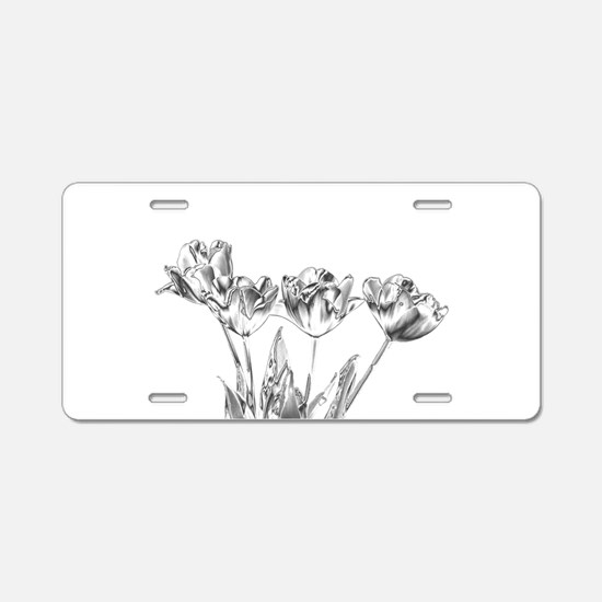 Chrome Tulip Aluminum License Plate