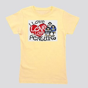 I Love Love More Penguins Ash Grey T-Shirt