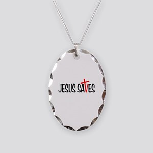 Jesus Saves Necklace Oval Charm
