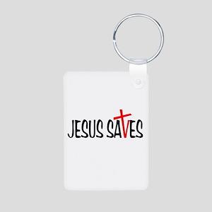 Jesus Saves Aluminum Photo Keychain