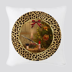 Makeup Christmas Tree Cheetah Woven Throw Pillow