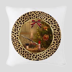 Makeup Christmas Tree Cheetah Woven Throw Pillow