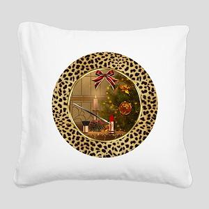 Makeup Christmas Tree Cheetah Square Canvas Pillow