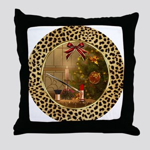 Makeup Christmas Tree Cheetah Throw Pillow