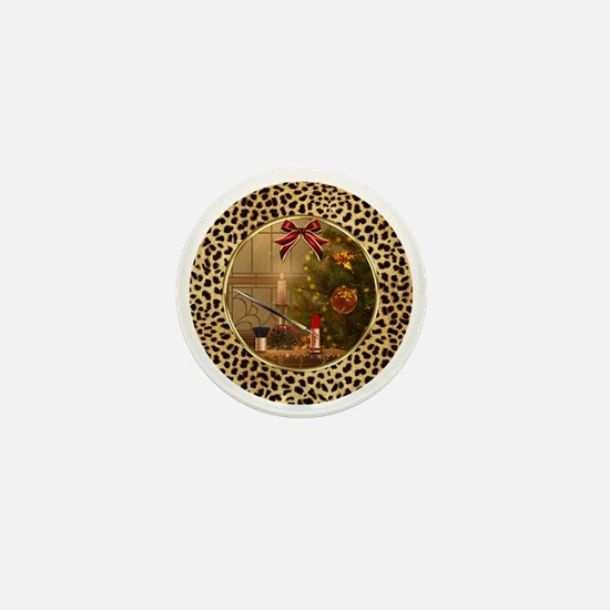 Makeup Christmas Tree Cheetah Mini Button